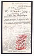 DP Adolf Domien Lagae ° Heule Kortrijk 1842 † Wingene 1911 X Julie Van Walleghem / Laga - Devotion Images