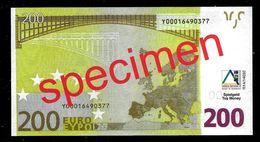 "Educativ Test ""AKTIV, Type 3 A"" 200 Euro, Billet Scolaire, Matt, Size 135 X 72 Mm, RRR, UNC, Beids. Druck, Serie 28 - EURO"