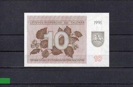 LITUANIA 1991, 10 TALONAS, P-35b, SC-UNC, 2 ESCANER - Lithuania