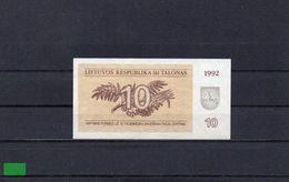 LITUANIA 1992, 10 TALONAS, P-40, SC-UNC, 2 ESCANER - Lithuania