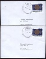 Biber Post, 2 Gelaufene FDC 0,45 € Carpe Diem Blau + Schwarz (Maya - Kalender) V.  01.04.2012 #1212 - Private & Local Mails