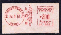 1963 - Empreinte Machine  SATAS Type SF - Vignette Du Bureau De ASNIERES Ppal - 1969 Montgeron – White Paper – Frama/Satas