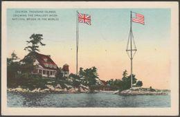 Smallest International Bridge, Zavikon, Ontario, 1945 - Valentine Black Co Postcard - Thousand Islands