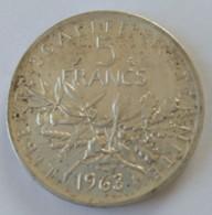 5 Francs 1963 - Semeuse - Argent - - France