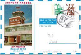 "BRD Privatganzs.-Postkarte PP073 D2/001a ""AIRPORT KASSEL"" SST 20.6.1973 CALDEN HESS 1 - [7] Federal Republic"