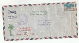 195 Air Mail  NETHERLANDS ANTILLES FDC  Stamps CARIBBEAN COMMISSION FLAGS Cover Flag - Curacao, Netherlands Antilles, Aruba
