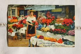 Carte Postale Ancienne Nice (06) Bouquetière Au Marché Aux Fleurs - Markets, Festivals