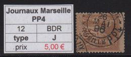 Journaux Marseille PP4 - Bouches Du Rhone - 1896 - Type Sage - Marcophilie (Timbres Détachés)