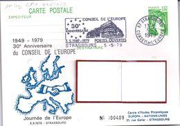 LOT  312 CP/ENTIER  STRASBOURG CONSEIL DEL'EUROPE 5/5/79 FLAMME 30°ANNIVERSAIRE P.O. - Entiers Postaux