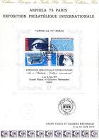 FRANCE 1975 DOCUMENT BLOC ENTIER ARPHILA 75 PARIS PREMIER JOUR - France