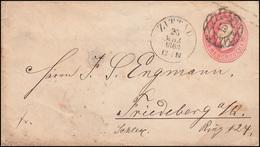 Sachsen Umschlag U 1A König Johann 1 Ngr. Nummer 15 ZITTAU 25.3.1863  - Saxony