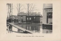 N6- 78) VILLENNES -  CRUE DE LA SEINE 1910  -  PLACE DE LA GARE -  (2 SCANS) - Villennes-sur-Seine