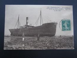 """CPA 17 Ile D'Oléron Echouement Du Bateau Norvégien """"Swanbridge"""" Sur La Côte Entre St Denis Et La Brée En Mars 1914 - Ile D'Oléron"""
