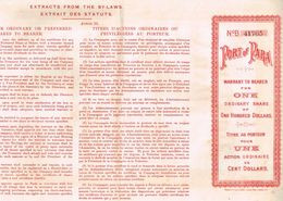 Action Ancienne - Port Of Para - Titre De 1909 - Transporte