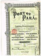 Action Ancienne - Port Of Para - Titre De 1906 - Transports