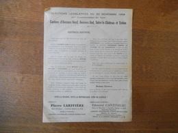 ELECTIONS LEGISLATIVES DU 30 NOVEMBRE 1958 CANTONS D'AVESNES,SOLRE LE CHATEAU,TRELON CANDIDAT PIERRE LARIVIERE MAIRE D'A - Documenti Storici