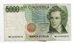 - Billet 5000 LIRE V. BELLINI 1985 - - [ 2] 1946-… : Républic