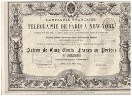 Ancienne Action - Compagnie Française De Télégraphe De Paris à New-York - Titre De 1879 - - Industrie
