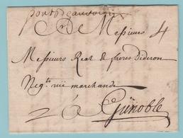 Fr.29 MP Manuscrit = Précurseur Des Marques D'entrées    Pont De Beauvoisin  6.3.1748 Pour Grenoble - Entry Postmarks