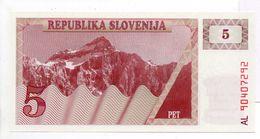 - Billet 5 TOLARS PET SLOVENIE - - Slovenia