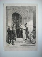 GRAVURE 1873. LE SHAH DE PERSE EN ANGLETERRE. RECEPTION DU SHAH PAR LA REINE A LA PORTE D'HONNEUR DU CHATEAU DE WINDSOR. - Stiche & Gravuren