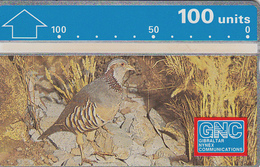 Gibraltar  Phonecard- 100u Barbary Partridge - Fine Used - Gibraltar