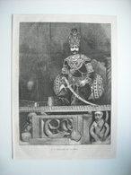 GRAVURE 1873. SA MAJESTE NASSR-ED-DIN, SHAH DE PERSE, SUR SON TRONE. - Stiche & Gravuren