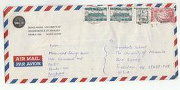 1991 BANGLADESH UNIVERSITY Of ENGINEERING DHAKA COVER  Stamps AIRPORT , POSTMAN To USA - Bangladesh