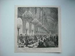 GRAVURE 1873. LE SHAH DE PERSE A VERSAILLES. BANQUET DANS LA GALERIE DES GLACES. - Stiche & Gravuren