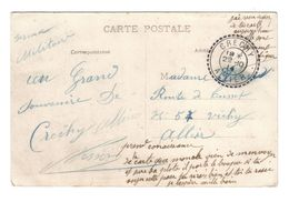 ALLIER CB3 CRECHY 22 10 1914  LETTRE AVEC TEXTE (CARTE POSTALE FRANCHISE MILITAIRE) - Marcophilie (Lettres)