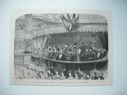 GRAVURE 1873. LE SHAH DE PERSE A PARIS. REPRESENTATION DE GALA A L'OPERA. - Stiche & Gravuren