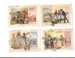 10549 - Lot De 4 Chromos Biscuits PERNOT : Le Travail Chez Tous Les Peuples : CANADA MEXIQUE BRESIL MADAGASCAR - Pernot