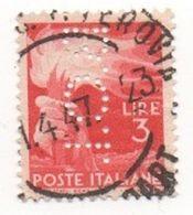 1945 - 1948 (553) Democratica L. 3 PERFIN - Leggi Il Messaggio Del Venditore - 6. 1946-.. República