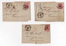 Nr 20 Sur Lettre/op Brief Bruxelles Grammont 1867 3 Stuks - 1865-1866 Profiel Links