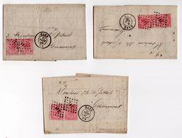 Nr 20 Double/dubbel Sur Lettre/op Brief Gent Grammont 1867 3 Stuks - 1865-1866 Profiel Links