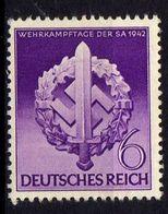 Deutsches Reich, 1942, Mi 818 **, Wehrkampftage SA [240218XXII] - Alemania