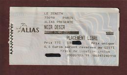 Ticket Original D'entrée Du Concert  NOIR DESIR  à PARIS BERCY Le 14 Mai 2002 - Face & Dos - Tickets D'entrée