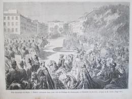 Gravure  1858  Fêtes Historiques De Dijon     Entrée    Philippe De Bourgogne Et Isabelle    De Bavière - Dijon