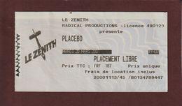 Ticket Original D'entrée Du Concert  PLACEBO  Au ZENITH - PARIS Le 20 Mars 2001 - Face & Dos - Tickets D'entrée