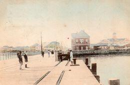 JAPON QUAI ANIMEE  FIN VOIE FERREE CARTE PRECURSEUR ECRITE 1903 - Japan