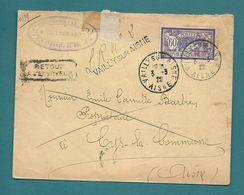 Aisne  - Vailly Sur Aisne; Recommandé Provisoire(faute De Vignettes!!). Pour Cys La Commune. Retour à L'envoyeur (décédé - Postmark Collection (Covers)