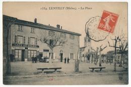 CPA - LENTILLY (Rhône) - La Place (Café Du Soleil) - France