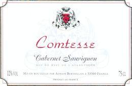 1 Etiquette Ancienne De VIN - COMTESSE CABERNET SAUVIGNON - VIN DE PAYS DE L'ATLANTIQUE - Bordeaux