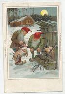 Deux Nains Pèsent Un Porcelet à L'aide D'un Peson. Auge, Fourche Maison Enneigée Et Lune. - Cartes Postales