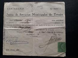 Maroc Espagnol - Marruecos - Tetouan 1941 - Recibo De Los Servicios Municipales - Maroc Espagnol