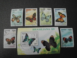 Stamps Of The World: Cambodia Cambodge (3 - Butterflies Butterfly) - Cambodge