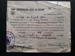 Maroc Espagnol - Marruecos - Tetuan 1941 - Recibo De Tasa De Propriedad N° 5 - Maroc Espagnol
