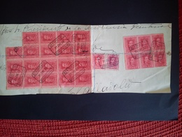 27 SELLOS USADOS PEGADOS EN UN SOBRE DE ENVIO - 1889-1931 Kingdom: Alphonse XIII