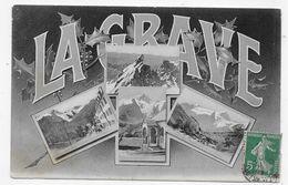 ( RECTO / VERSO) LA GRAVE EN 1909 - MULTIVUES - CACHET HOTEL DE LA MEIJE - CPA VOYAGEE - France