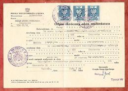 Gebuehrenmarke, Gekuerzte Kopie Der Heiratsurkunde, Corzow, 1957 (47301) - Gebührenstempel, Impoststempel